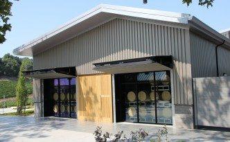Close up shot of barrel building at winery.